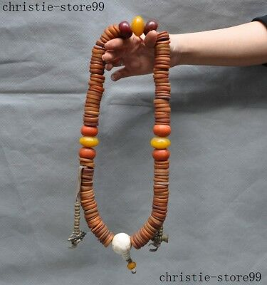 Old Tibet Buddhism Temple Bronze Copper Beeswax shell Pray Bead Necklace Amulet