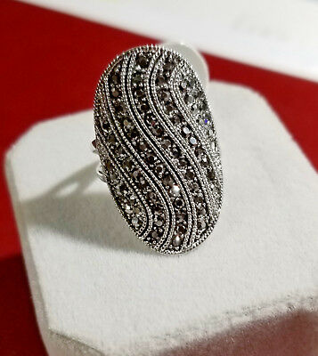 New, Antique Beautiful handcrafted with Black CZ stone, Ladies Ring, Size 7,8,9
