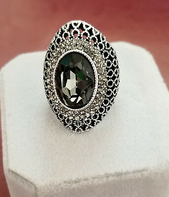 New, Antique Beautiful handcrafted with Gray Crystal,  Ladies Ring, Size 6,7