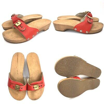f3454b3322e Vintage Womens 7 M Dr Scholls Wooden Exercise Sandals Red Leather 70s  Austria