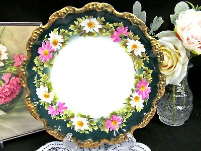 LIMOGES FRANCE painted  plate pretty daisy pattern gold and green band trims