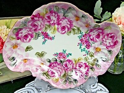 FITZ & FLOYD STUNNING pink and roses bowl platter amazing colors chintz