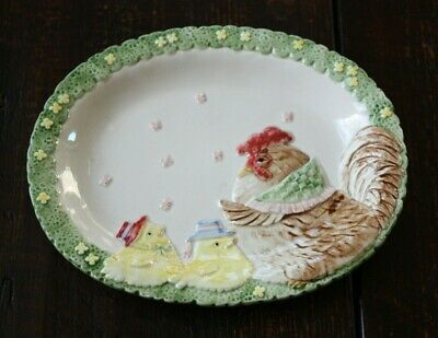 "Fitz and Floyd Decorative Plate MOTHER HEN WITH HER CHICKS 8.25"" X 6.50"" 1987"