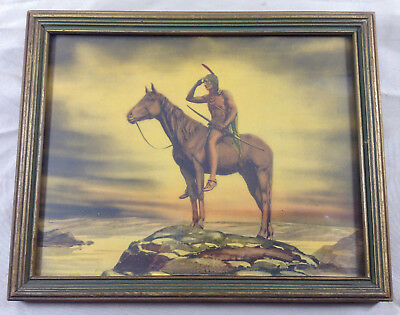 Vintage Art Print Lookout On Horseback Native American Indian - End Of The Trail