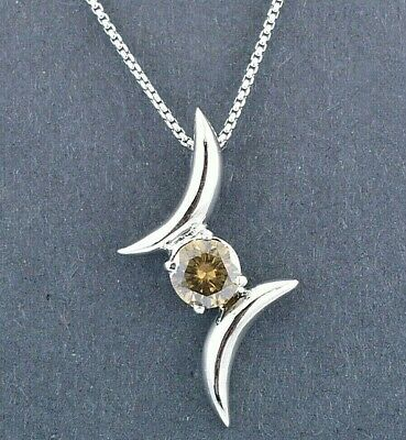 Champagne Diamond Pendant in 925 Silver,Certified. Designer Look - 1.30 cts
