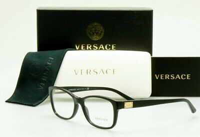 AUTHENTIC VERSACE EYEGLASS Frame Polished Black/Gold Mod.3184 GB1 54mm Italy