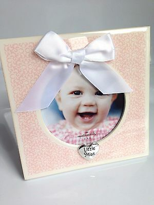 Hallmark LITTLE MISS Baby Frame, Shower Gift, Pink White Ribbon NEW IN BOX!