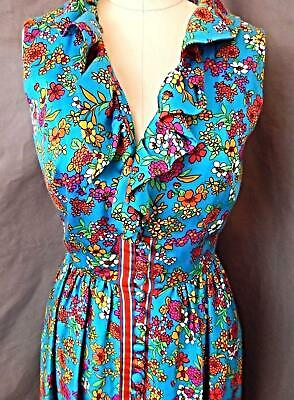 1960s Vintage DUSTER DRESS~TURQOUISE BLUE FLORAL~HOSTESS PARTY GOWN S
