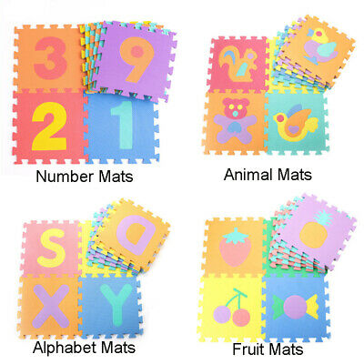 10pcs Baby Soft EVA Foam Play Mat Alphabet Numbers Puzzle DIY Toy Kids Gifts