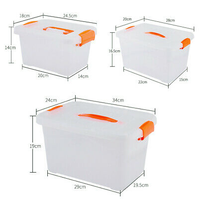 Plastic Clear Storage Box Home Office Organizer With Clip Lids & Carry Handle