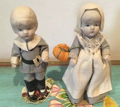 Delightful Pair Of Antique Bisque Dolls