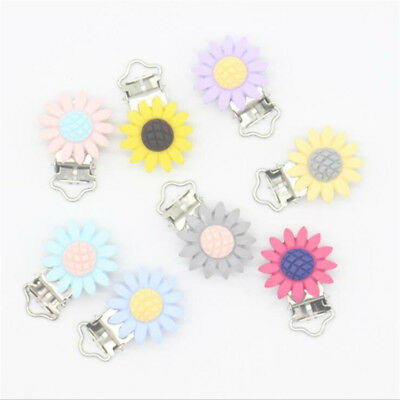 2Pcs Daisy Flower Pacifier Clip Baby Pacifier Clip Feeding Accessories Tool B
