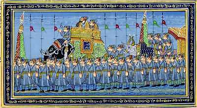 Indian Miniature Painting Handmade on Old Paper of Royal Procession Mughal Art