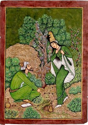 Persian Miniature Painting Tow Lover Enjoying with wine in Green Persian Art