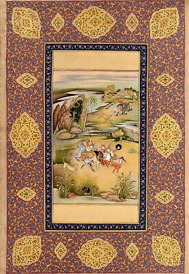 Persian Miniature Painting Hunt Scene Very fine Miniature Painting Top Quality