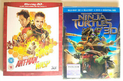 Ant-Man and the Wasp 3D (Region-Free) + TMNT 3D Blu-ray+Digital+Rare Slip Covers
