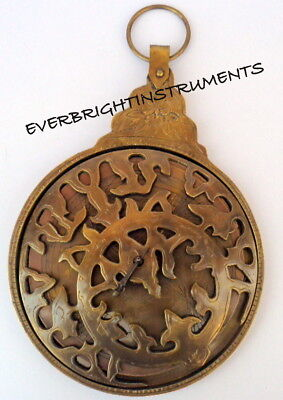 Antique Finish Brass Astrolabe Arabic Globe Navigation Astrological Calendar