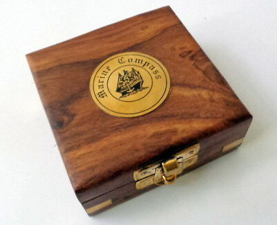 Antique Maritime Brass Compass in Wooden Box Vintage Nautical Decor Item