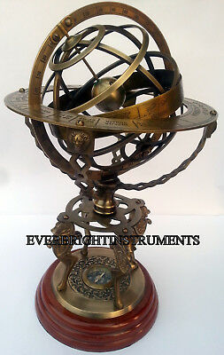 Nautical Antique Vintage Brass Armillary W/ Compass On Wood Base Beautiful Gift