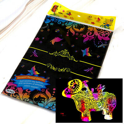 20x Magic Colored Scratch Art Painting Paper Educational Toy Drawing Sticks