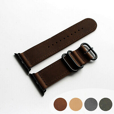 For Apple Watch iWatch 38 40 42 44mm Brown Soft Genuine Leather Watch Band Strap