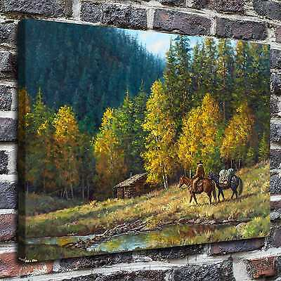 "16""x22""Western lodge Paintings HD Print on Canvas Home Decor Wall Art Pictures"