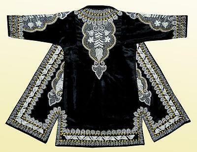 STUNNING UZBEK SILVER SILK EMBROIDERED ROBE CHAPAN FROM BUKHARA A7825