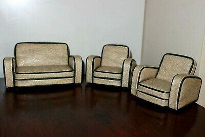 Art Deco Dolls House Sofa Set & Chairs Vintage Collectable Miniature Furniture