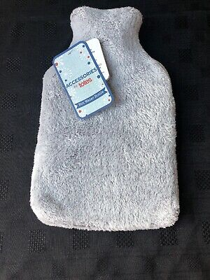 Brand New Totes Grey Furry Hot Water Bottle Cover & Bottle