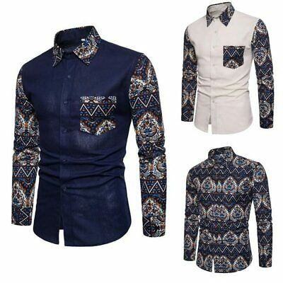 Formal dress shirt men's luxury casual slim fit stylish long sleeve floral