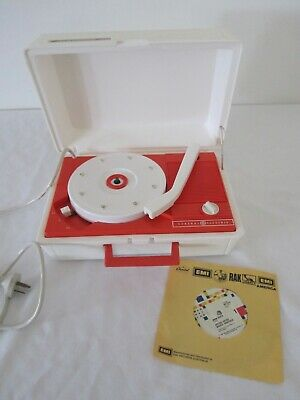Vintage collectable Orange GE General Electric Solid State RECORD PLAYER Working