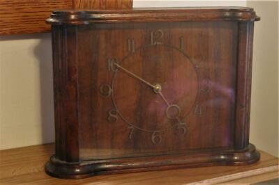 Working Vintage Smiths Mantel Clock Oak Cased 4 Jewel 8 Day Clock No Chimes