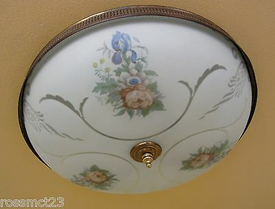 Vintage Lighting 1940s Globe floral set   One ceiling fixture   Three sconces