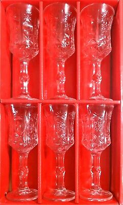 6 Set Vintage Crystal Wine Glasses Picnic Marine Garden Cut Diamond Glass 50ML