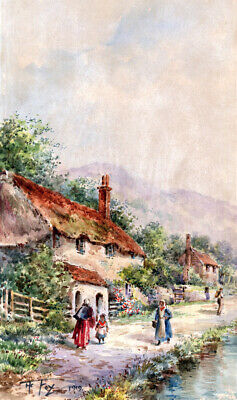 HENRY CHARLES FOX Signed Original Antique Watercolour Painting Cottage Landscape