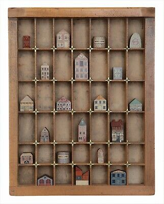 Delightful Little Collection of Miniature Wooden Houses in Antique Printers Tray