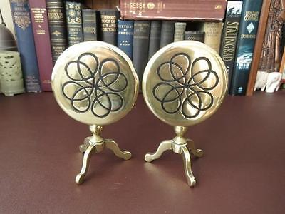 Victorian Pair Of Matching -  Brass Candle Reflectors Formed As Tilt Top Tables