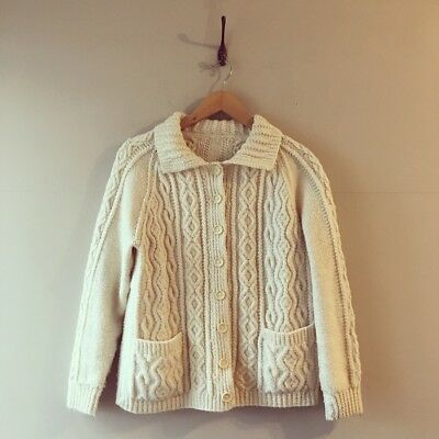 True Vintage Cable Hand Knit Wool Cardigan Sweater Jumper S M UK8 10 12