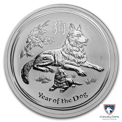 2018 2 oz Australia Silver Lunar Year of the Dog Coin BU (In Capsule)