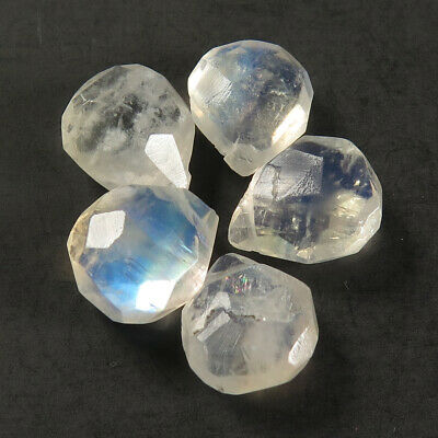 Rainbow Moonstone Natural Gemstone 5 Pcs Pear Faceted Beads 11x9 mm 18.20 Cts