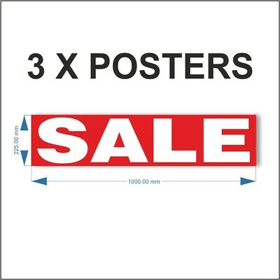 3 x SALE POSTER, Shop Window Banner Display Poster Reusable Posters