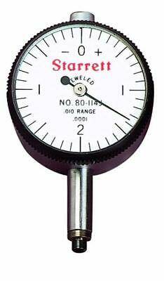"Starrett 80-144J Miniature Dial Indicator, 0.2185"" Stem Diameter, Lug-On-Centre"