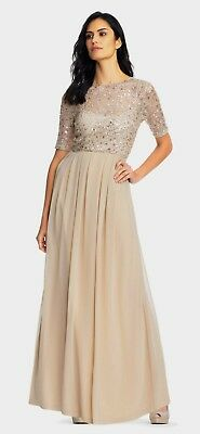 ADRIANNA PAPELL Chiffon Sequin Lace Bodice Dress Gown in Nude Sz:8 Ret:$249 NWT