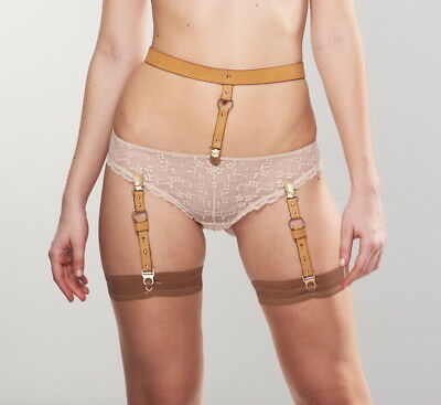 Bijoux Indiscrets MAZE Suspender Belt in Brown Vegan Leather, One Size, NWT/Box