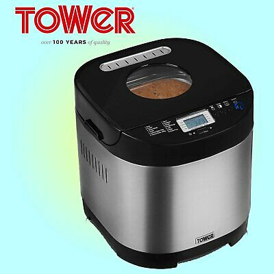 Tower T11001 Digital Bread Maker with Gluten Free Setting, Stainless Steel 0.9L