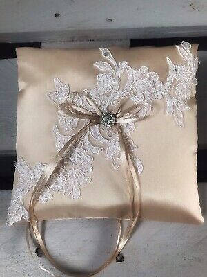 FAB Champagne Wedding Ring Cushion Bearer Pillow Sparkly Lace Diamanté GLAM Chic