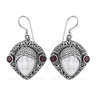 Bali Goddess Collection Carved Bone, Mozambique Garnet Earrings in Sterling Silv
