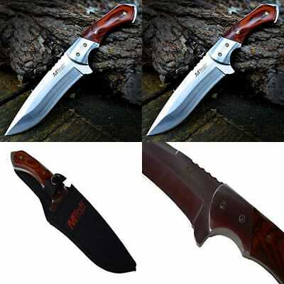 "9"" M TECH TACTICAL Hunting Survival FULL TANG FIXED BLADE KNIFE Wood W/ SHEATH"