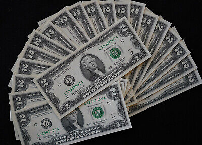 (20) 2003-A $2 TWO DOLLAR BILL GREEN Seal 20 CONSEC S/N