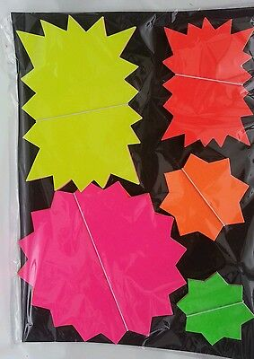 100 x neon Fluorescent Stars Flash Price Display Tags Labels Shop assorted sizes